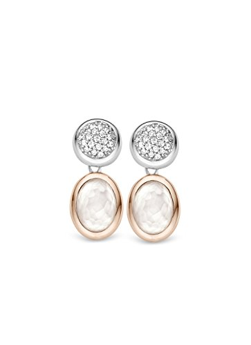 Ti Sento Milano femme  Argent 925/1000  Plaqué rhodium Argent|#Silver Ovale   Blanc Perlmutt Zirkonia FASHIONEARRING