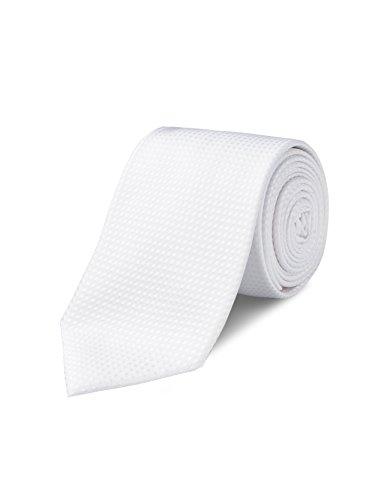hion Pin Dot White Skinny Tie Handmade 100% Silk 3