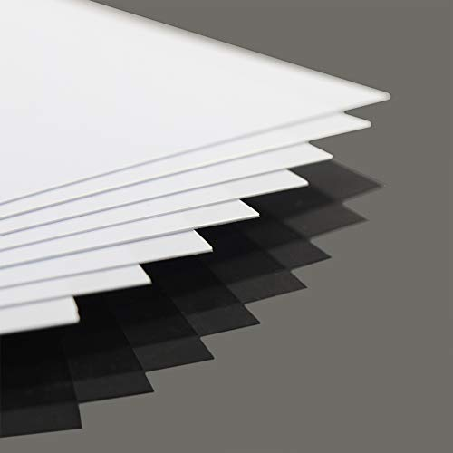 ABS0905 8pcs 0.5mm Thickness 200mm x 250mm White Polystyrene Sheets 9.84