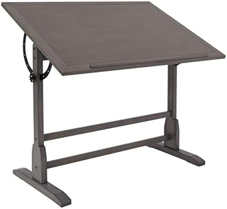 Craft Hobby Essentials Slate Gray 42 Wide Wood Drafting, Art, Drawing Table, Fixed Height with Adjustable Tilting Top