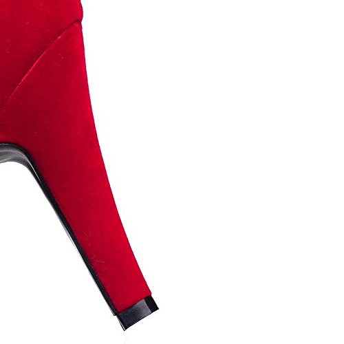 Solid Closed Heels Pointed on High Pumps Toe Pull Womens 38 Red Shoes AllhqFashion wRYXqcEZaw