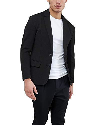 Daupanzees Mens Casual Two Button Suits Lapel Blazer Jacket Lightweight Sport Coat (Black L)