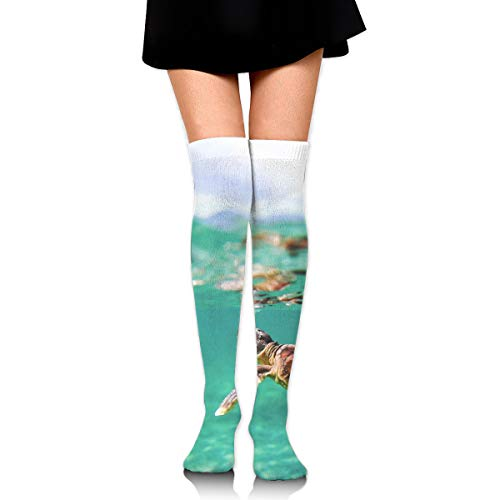 (OFFWAYA Womens Turtle Under Sea Ocean Turquoise Casual Crew Socks Casual Holiday Socks Colorful Pattern Dress Socks - Novelty Gift for Christmas X-mas New)
