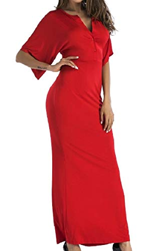 Maxi Red Women Flounced Neck Colored Beach Howme Dress Long Solid V Bodycon 8PBwnqng