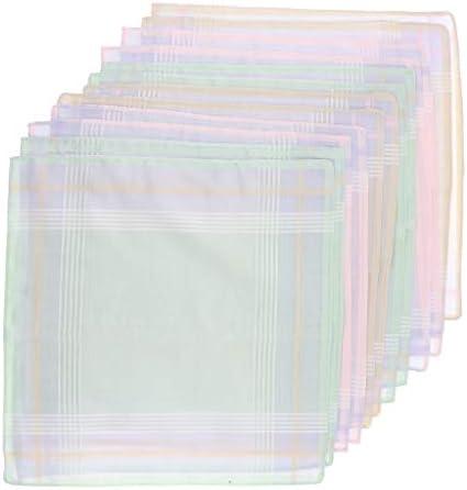 ハンカチ 綿 メンズ チェック柄 コットンハンカチ パーティー 吸収性 吸湿性 12ピースセット