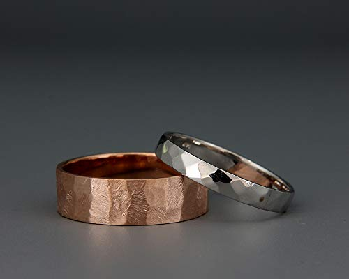 14k Rose and White Gold Textured Wedding Band Set | His and Hers hammered wedding ring set | 14K Rose and White Gold rustic Wedding Band Set ()