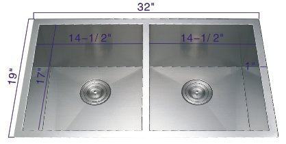 19' Undermount Sink (321955 32''19''10'' Undermount 50/50 Bowl 18 Gauge Stainless Steel Hand Made Sink)