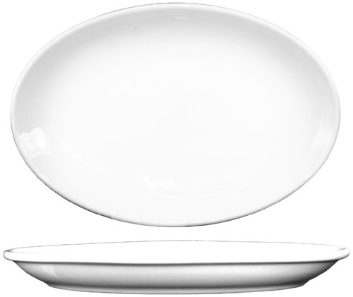 ITI-DO-34 Porcelain 9.625-Inch by 7-1/2-Inch Dover Platter, 24-Piece, White ()