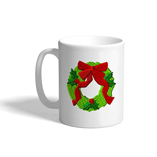 Ceramic Funny Coffee Mug Coffee Cup Christmas Wreath Decoration White Tea Cup 11 Ounces