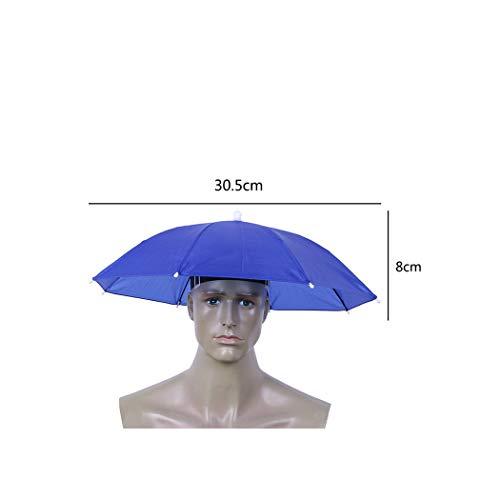 Foldable Umbrella Hat Cap Headwear Umbrella for Fishing Hiking Beach Camping Cap Head Hats Outdoor Rain Gear,30.5cm2