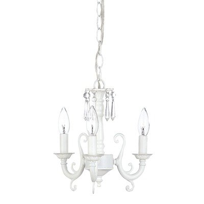 Jubilee Collection 7022 3 Arm Scroll Chandelier, White For Sale