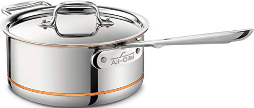 All-Clad 6203 SS Copper Core 5-Ply Bonded Dishwasher Safe Saucepan with Lid / Cookware, 3-Quart, -