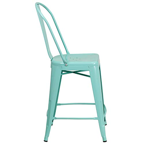 Flash Furniture ET-3534-24-MINT-GG Colorful Restaurant Counter 24 Mint Metal Outdoor Stool, 1 Pack, Green