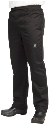 Chef Revival P020BK 24/7 Poly Cotton Blend Elastic Waistband Chef Pant with Drawstring, X-Large, Black by Chef Revival