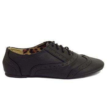 Girls Kids Black Lace Up Flat Oxford Brogue Pumps Smart School Shoes