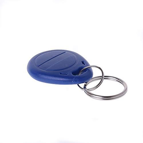 HOWWOH 10 Pieces Duplicator EM4305 T5577 Clone Proximity Badge Writable Rewrite Copy 125khz RFID Tag llavero Porta Chave Card Sticker Key Fob Token Ring Blue ()