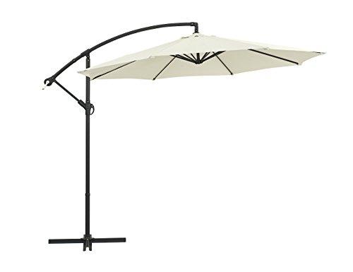 Green Garden Patio 10-Feet Aluminum Offset Outdoor Umbrella Hanging Cantilever Umbrella cranks with Cross Base, 6 Ribs, Beige