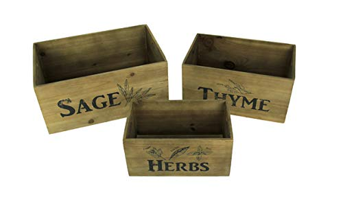 - Sage Thyme and Herbs Decorative Wooden Storage Crates Set of 3