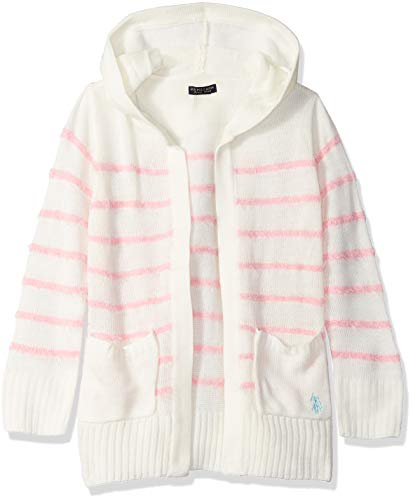 U.S. Polo Assn. Girls' Toddler Cardigan Sweater, Striped Hooded Vanilla, 2T by U.S. Polo Assn.