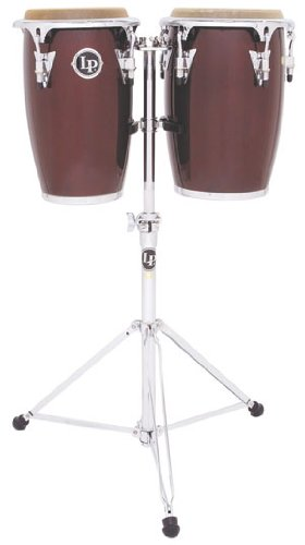 Latin Percussion LP Jr Wood Conga Set - Wine Red/Chrome by Latin Percussion