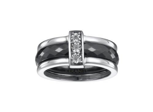 Ceranity - 1-18/0004-N - Bague Anneaux Femme - Barrette - Argent 925/1000 6.1 gr - Diamant - Céramique - Blanc