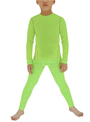 - Minghe Boy's Long Underwear Set Skin Base Layer Tops Bottom Moisture Wicking Green 10
