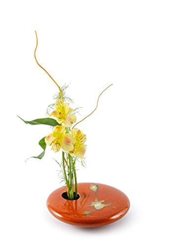 ound Ikebana Flower Vase, Red Zen ()
