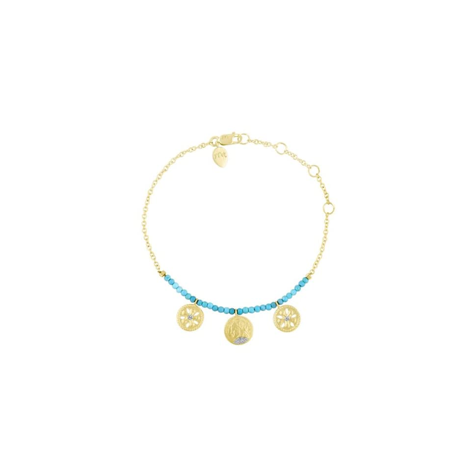 Meira T Solid 14k Yellow Gold Diamond Flower & Coin Charm Turquoise Beads Bracelet