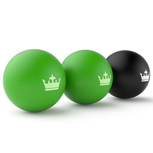 Lacrosse Muscle Roller Ball Set of 3 Massage Balls for Deep Tissue Trigger Point Physio Therapy & Myofascial Stress Release Rubber Men And Woman Reflexology Rehab Fasciitis Recovery Acupressure ()