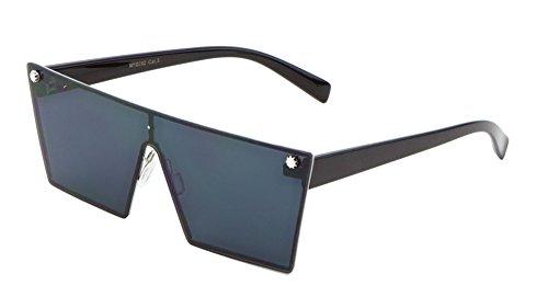 Luxe Art Deco Shield Flat Top Flat Lens Sunglasses (Black, Super - Gaga Glasses