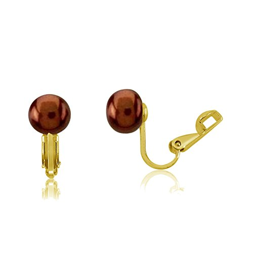 - Gold Plated Sterling Silver (8-8.5mm) Chocolate Cultured Freshwater Pearls Clip On Earrings