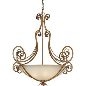 Forte Lighting 2477-06-41 6-Light Traditional Pendant, Rustic Sienna Finish with Shaded Umber Glass -