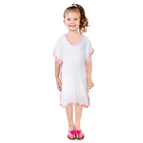 QtGirl Cover Up for Girls Swimsuit Cover Ups, Bathing Suit Beach Dress Cover-Up V-Neck with Tassel for Kids Girls Summer Pink ()
