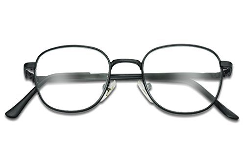 Oval Classic Squared Vintage Clear Glass Lens Non-Prescription UV Metal Frame Glasses (Black, - For Old Year Glasses 60 Frames Woman