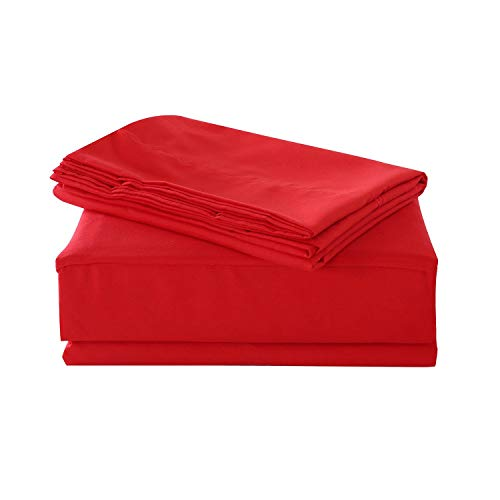 HollyHOME 1500 Soft Hypoallergenic Brushed Microfiber Bed Sheet Set, 4 Pieces Queen Size Sheets, Red (Sheets Queen Red)