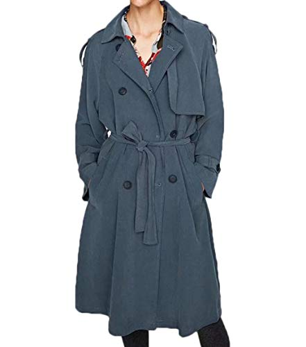 A Gray Vita Donna Giacca Giacca Temperamento Da Vento Lunga Jshfd blue CHqy7cwSc
