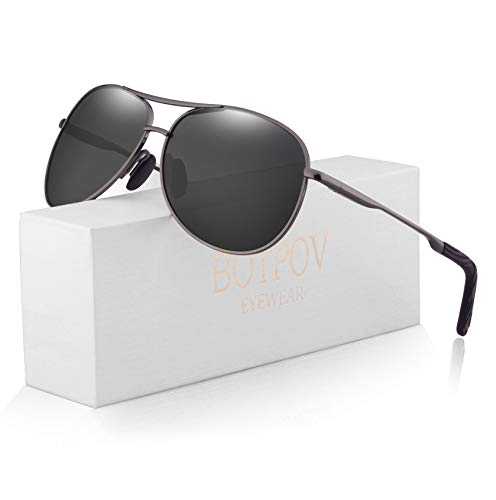 Polarized Aviator Sunglasses for Men and Women-100 UV Protection Mirrored Lens -Metal Frame with Spring Hinges (Gun/Black)
