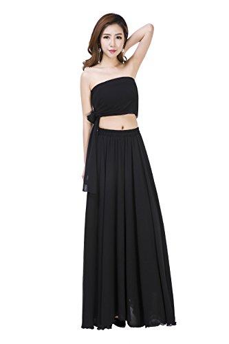 Sinreefsy Women Summer Chiffon High Waist Pleated Big Hem Full/Ankle Length Beach Maxi Skirt(XX-Large/Black) ()