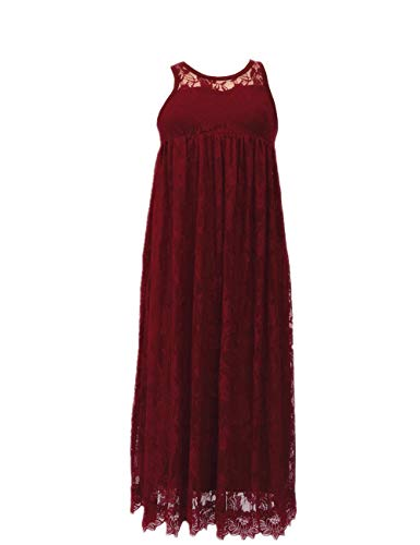 SEBOWEL Floral Lace A-line Sleeveless Ruffles Holiday Party Flower Girl Dress Burgundy-S
