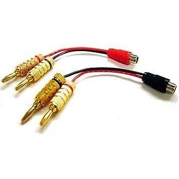amazon com stereo rca l r phono to speaker banana plug adaptor for rh amazon com bi wiring banana plugs install banana plugs monoprice