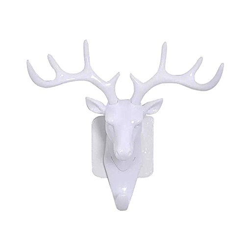 ELK David's Deer Head Single Wall Hook / Hanger Animal shaped Coat Hat Hook Heavy Duty, Rustic, Decorative Gift(White) Elks Animals