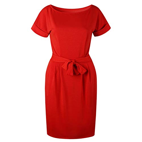 Casual Short Sleeve O-Neck Straight Bodycon Dress Women Loose Pocket Red M