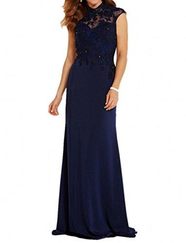 Chifon Brau Dunkel Partykleider Langes Formalkleider Elegant Spitze Abendkleider Blau mia Brautmutterkleider Kleider Jugendweihe La xSqw75UI