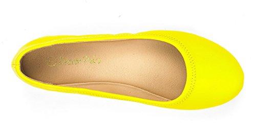 DREAM PAIRS Damen Sole Happy Ballerina Walking Wohnungen Schuhe Gelb