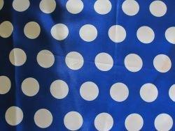 Satin Stoff Mit Punkten Gepunktet Royal Blau Weiss Bedruckt