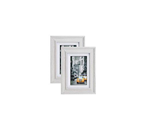 Marble Gray Wood Picture Frame 4X6 (2pc) Photo Display with Glass Front, Easel Back, Hanging Clip | 2 PIECE SET by Lambert Frame