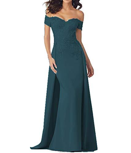 tutu.vivi Women's Vintage Lace Appliques Off Shoulder Mother of The Bride Dresses Long Formal Evening Prom Gown Teal Size4