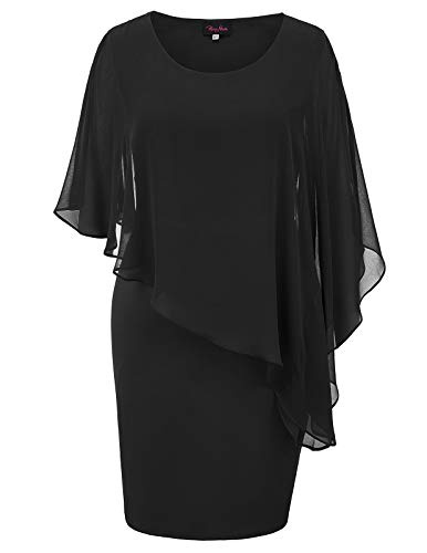 Women's Overlay Party Dress Chiffon Poncho Slit Sleeve Pencil Cocktail Mini Dress Black Plus 20W ()