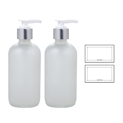 8 oz Frosted Clear Glass Boston Round Bottle with Silver and White Lotion Pump (2 Pack) + Labels - White Lotion Pump