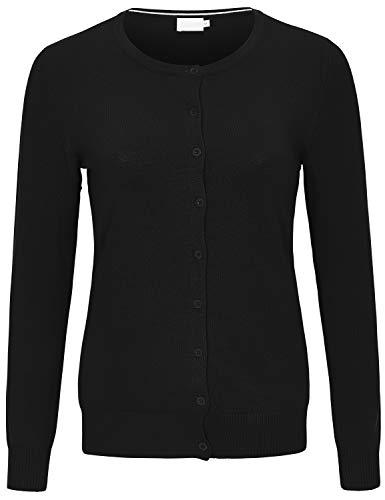JSCEND Women's Long Sleeve Button Down Crew Neck Soft Knit Cardigan Sweater Black L